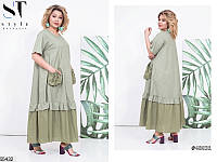 Платье свободное большого размера с воротником (3 расцветки)