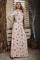 Летнее женское платье макси с поясом розовое, фото 1