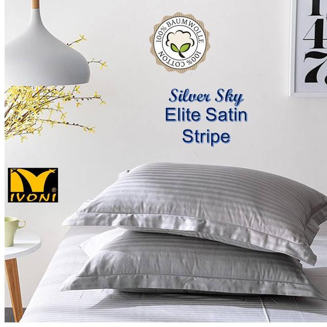 """Наволочки. Колекція """"Elite Satin Stripe 8х8 mm Silver Sky"""". Страйп-Сатин (Туреччина). Бавовна 100%"""