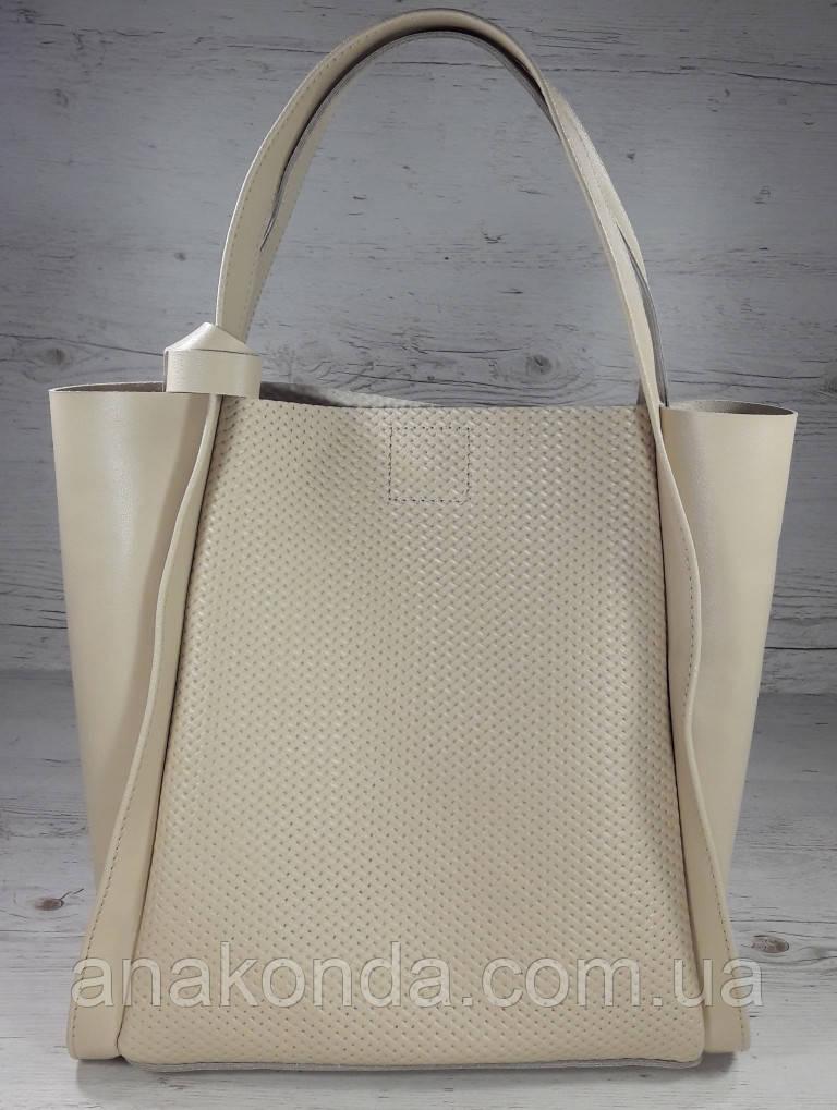 154-1 Натуральная кожа Сумка женская шоппер  светлая бежевая Светлый беж Экрю с тиснением сумка кожаная