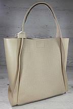 154-1 Натуральная кожа Сумка женская шоппер  светлая бежевая Светлый беж Экрю с тиснением сумка кожаная, фото 2