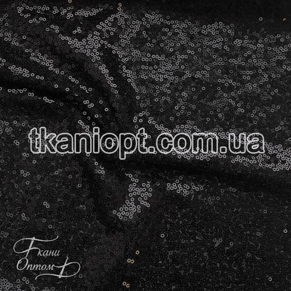 Ткань Пайеточная ткань густая (черный)