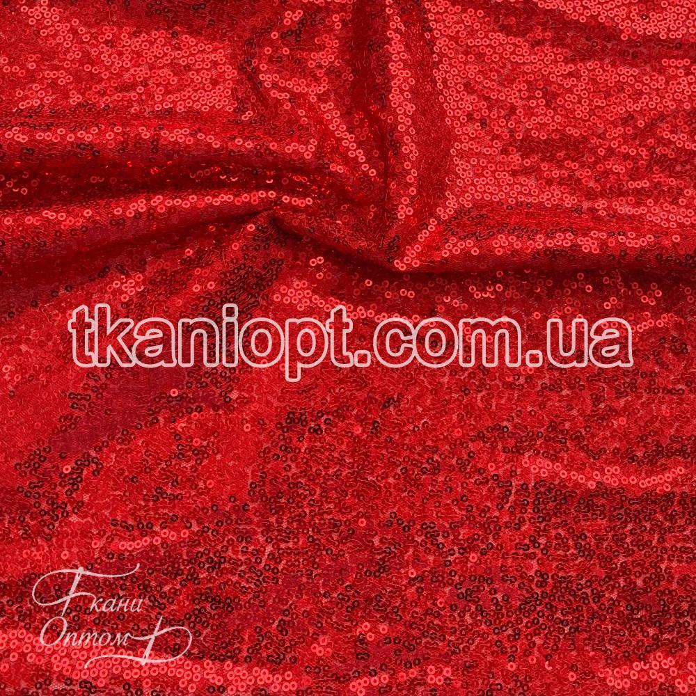 Ткань Пайеточная ткань густая (красный)