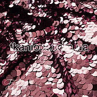 Ткань Пайеточная ткань монета (розовый на черном)