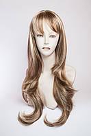 Длинный волнистый парик №4 Цвет мелирование русый с белым
