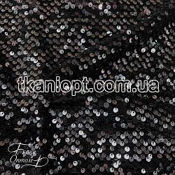 Ткань Пайетка на бархате (серая на черном)