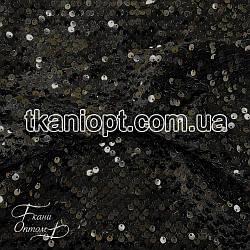 Ткань Пайетка на бархате (черная)