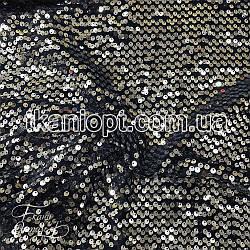 Ткань Пайетка на бархате (серебро на темно-синем)
