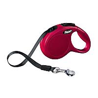 Поводок-рулетка Flexi с лентой «New Classic» XS 3 м / 12 кг (красная)