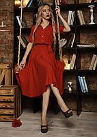 Красное летнее женское платье из софта