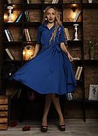 Стильное женское платье с рубашечным воротником электрик