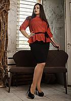 Элегантный женский костюм больших размеров красный с черным, фото 1