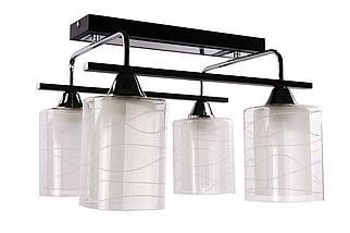 Люстра стельова на 4 лампочки (29х37х39 див.) Чорний або білий, хром YR-126/4-bk