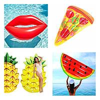 Надувной матрас для пляжа Губы, Арбуз, кусочек Пиццы, Ананас