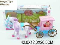 Карета с лошадью и куклой  музыкальная