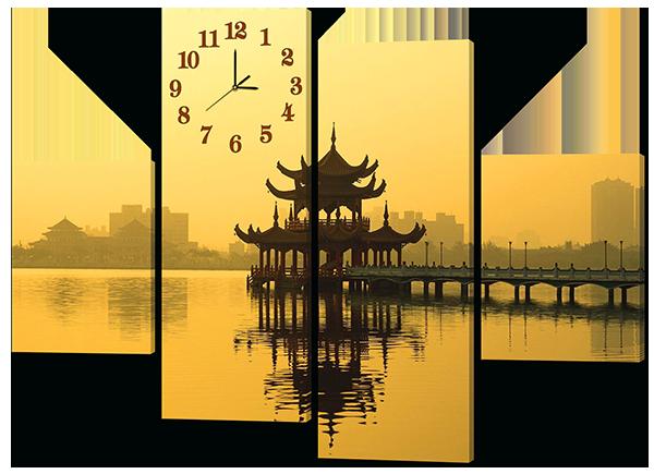 Модульная картина с часами Interno Искусственный холст Храм 146x108см (Z425L)