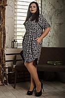 Красивое женское платье-рубашка с принтом белые розочки, фото 1
