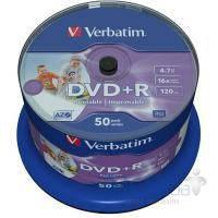 Диск Verbatim DVD+R 4.7Gb 16X CakeBox 50шт WidePrintable (43512)