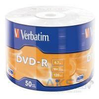 Диск Verbatim DVD-R 4.7Gb 16X Wrap-box 50шт MATT SILVER (43788)
