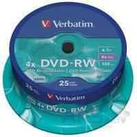 Диск Verbatim DVD-RW 4.7Gb 4x CakeBox 25 шт silver (43639)