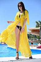 Пляжная туника желтая длинная Большого размера