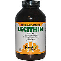 Лецитин (Lecithin) Country Life 1200 мг 300 капсул