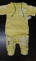 Детский летний костюм Адидас желтый