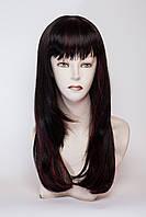 Длинный ровный парик №5,Цвет мелирование черный с красным