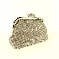 Вечерний клатч, сумочка Rose Heart  02069 серебро с белыми стразами