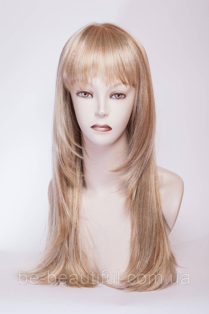 Длинный ровный парик №4,цвет мелирование золотистый с блондом