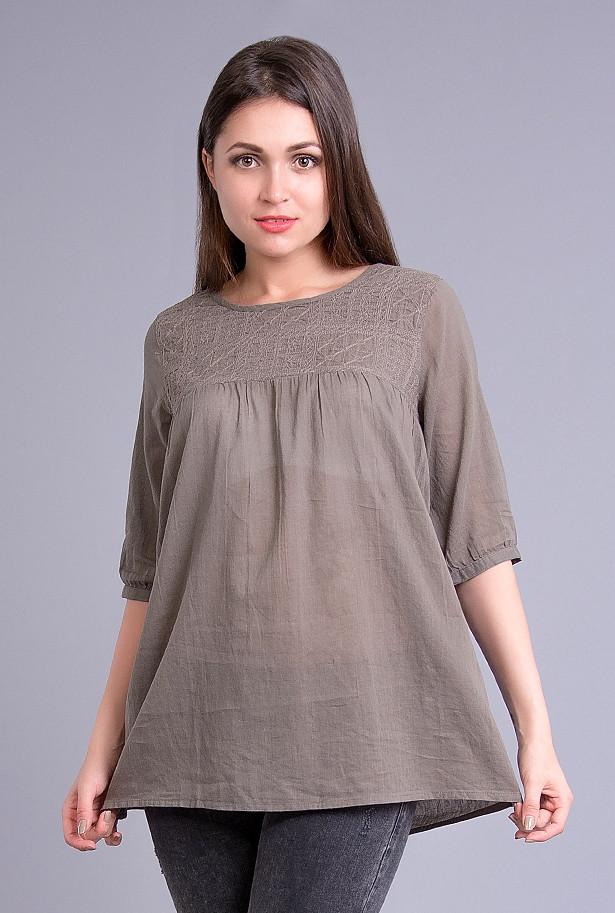Блузка женская серая с вышивкой, хлопок, 44-50 р-ры