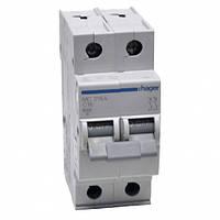 Автоматический выключатель Hager MC206A. Iн=6А, 2п, хар-ка С