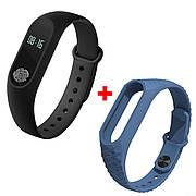 Фитнес-браслет трекер UWatch М2 Black + Mi Fit Flex Blue/White ремешок (nri-803)