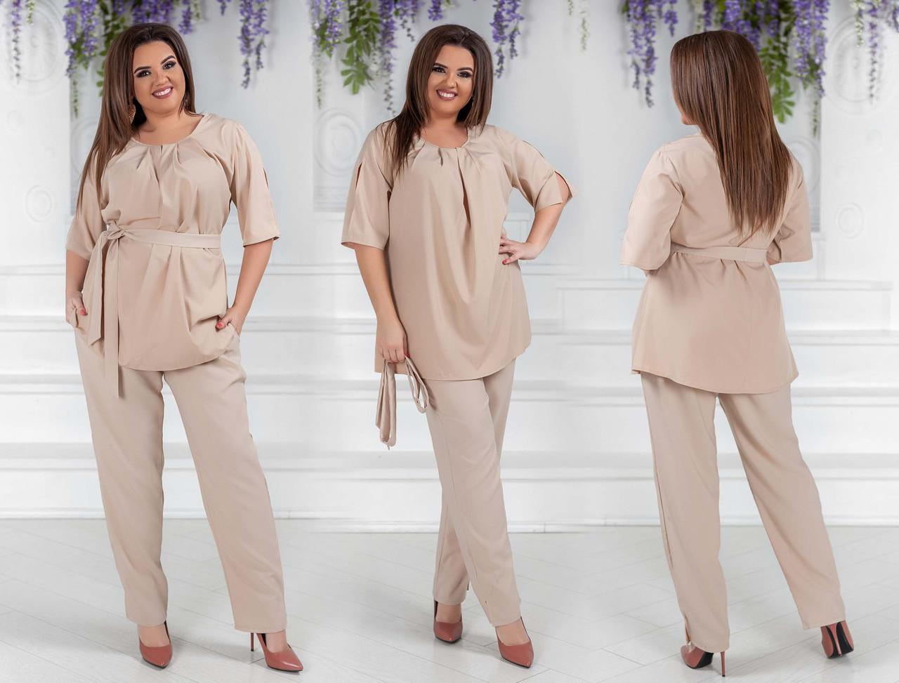 9e0e8024c4c5c84 Женский нарядный брючный костюм в больших размерах 02329