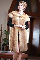 Жилет жилетка из лисы (перфорация), длина 100 см Fur vest fur waist coat made of perforated fox skins, фото 1