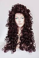 Длинный волнистый парик №7.Цвет баклажановый