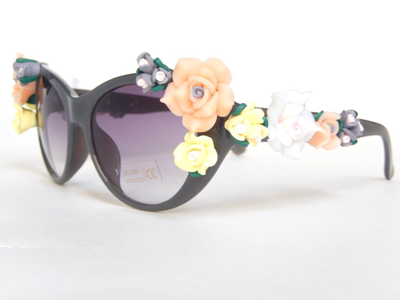 Очки с цветами в стиле Dolce&Gabbana grafit