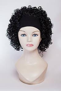 Искусственный гофрированный парик на ленте №3, цвет черный