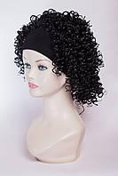Искусственный гофрированый парик на ленте №3, цвет черный
