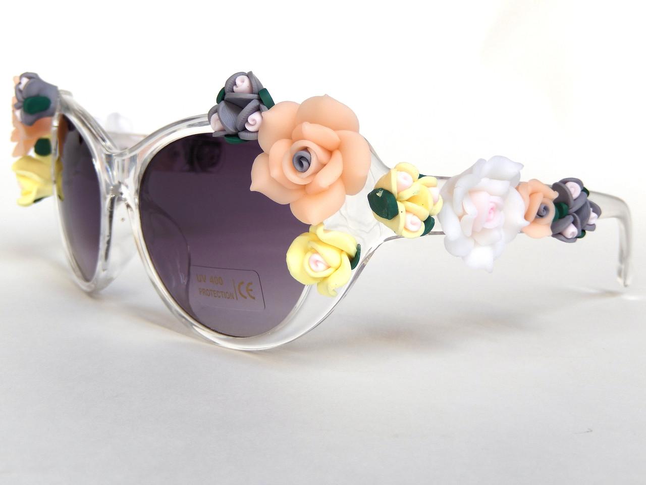 Очки с цветами в стиле Dolce&Gabbana clear