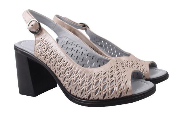 Босоножки женские на каблуке Phany натуральная кожа, цвет бежевый