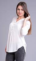 Блузка белая с погонами, длинная, 44-46 р-ры, фото 1