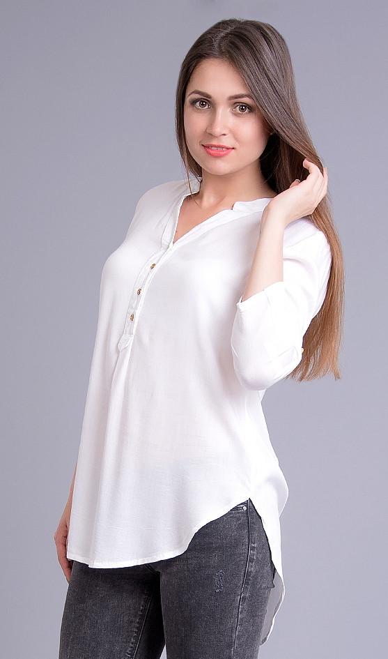 Блузка белая с погонами, длинная, 44-50 р-ры