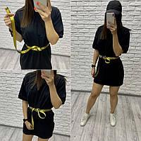 Легкое женское черное платье из турецкого коттона, размеры: 42-44, 44-46