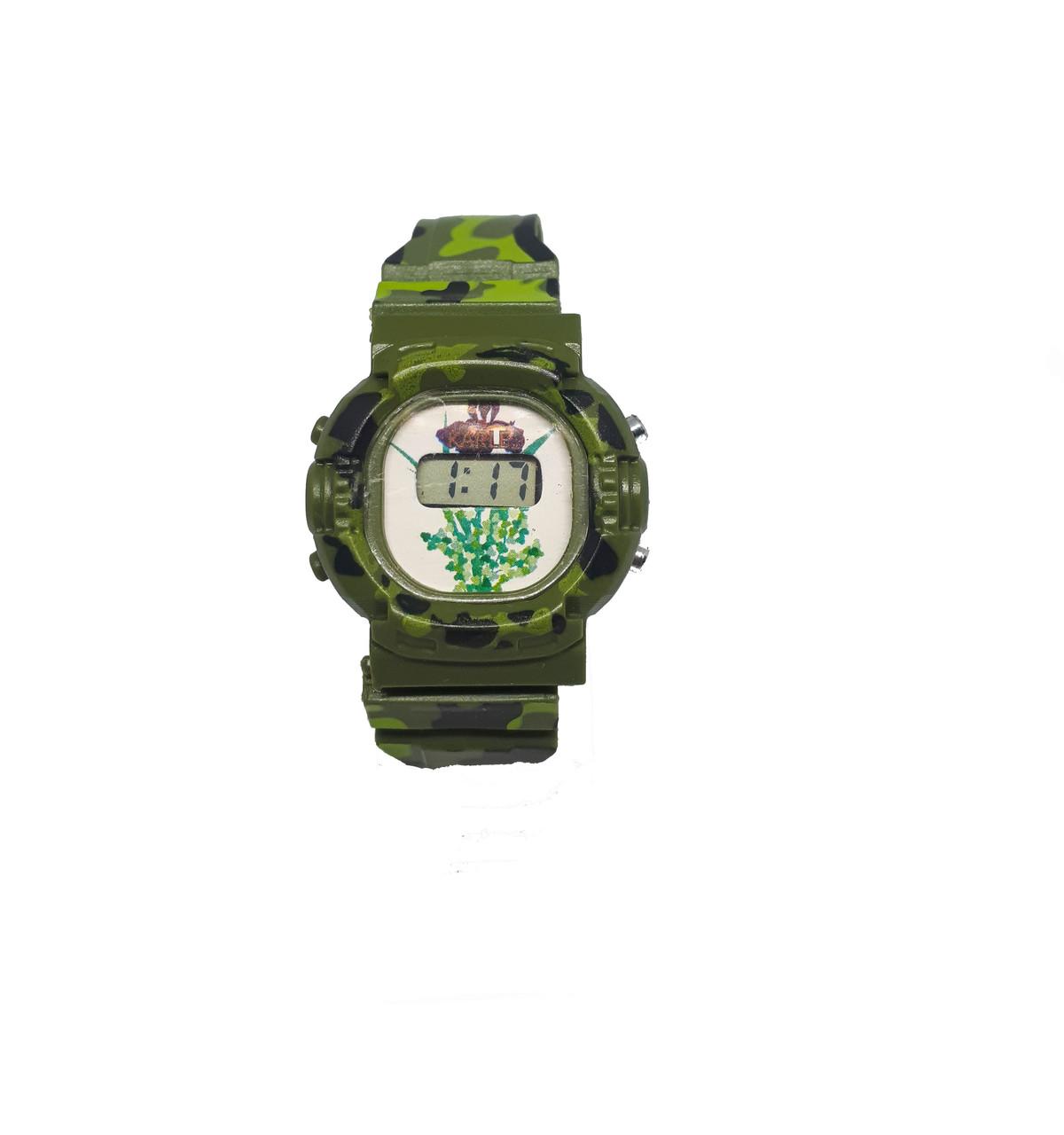 Часы пластмассовые электронные цветные. Зеленый