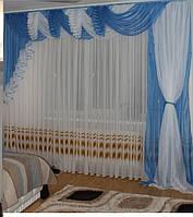 Современный ламбрекен из шифона голубого цвета, фото 1