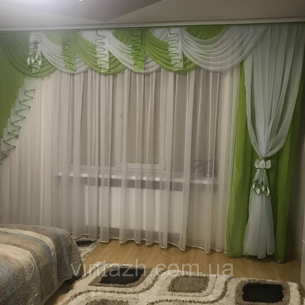 Шифоновый ламбрекен для спальни очень красивый