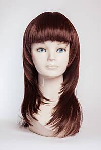 Длинный ровный парик №1, цвет каштан с яркой краснинкой