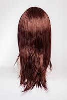 Длинный ровный парик №1,цвет каштан с яркой краснинкой