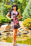 Легкое,нежное платье с геометрическим орнаментом и ярким цветочным принтом, микромасло, фото 1
